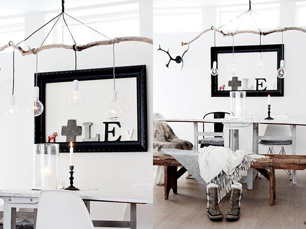 holz lampen esszimmer rustikal glühbirnen skandinavischer stil ...