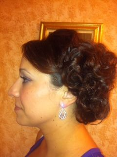 Cute #curls gathered together for a simple, chic #updo