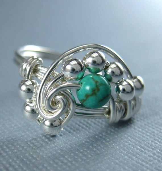 Genuine Turquoise Ring Math Ring Wire Wrapped Sterling Silver Pi ...