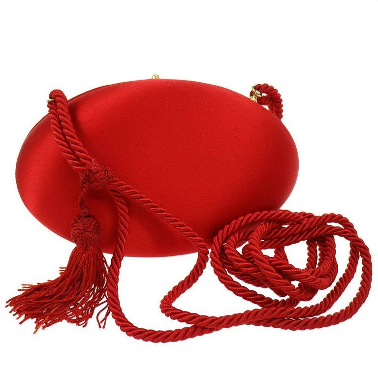 2b5e551ceabe Prada Red Tassel Cord Kisslock Party 2 in 1 Clutch Evening Shoulder Bag in  Box