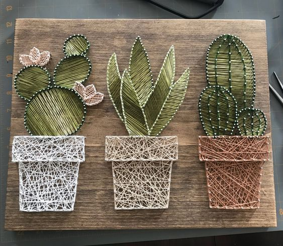 Cactus garden string art • suculent string srt • home decor • rustic wall art • rustic succulent cac #craftstomakeandsell