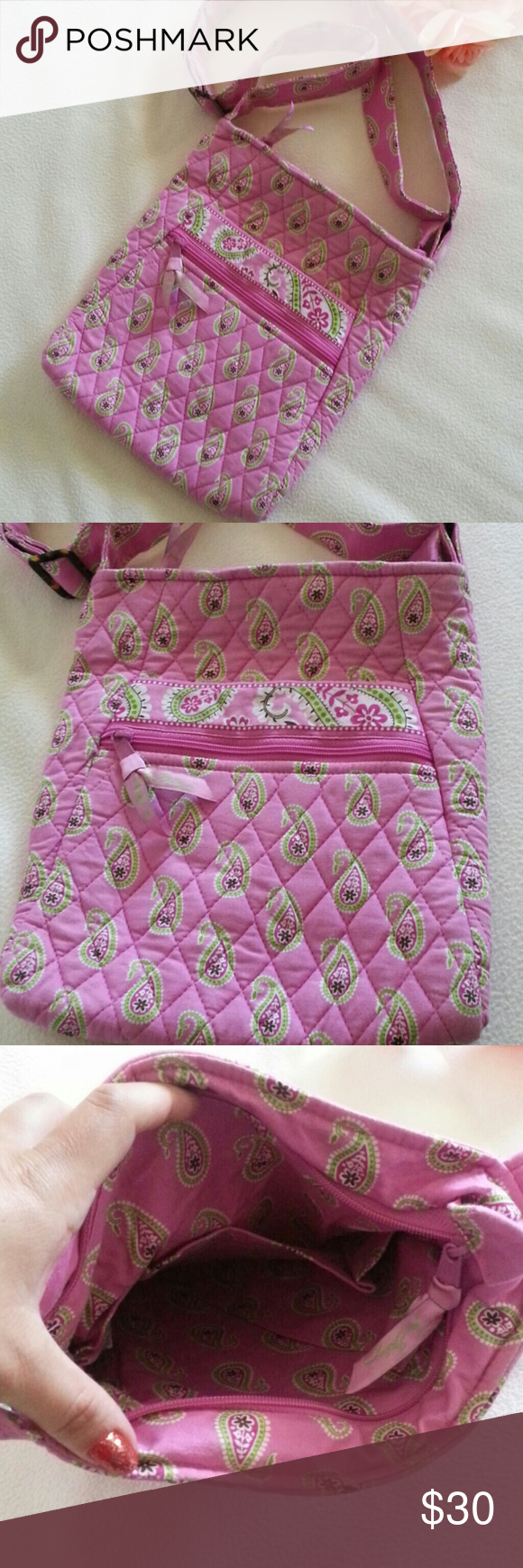 "Vera Bradley Crossbody Pink Very good condition 10"" x 9.5"" x 1"" Adjustable strap Pink color Vera Bradley Bags Crossbody Bags"