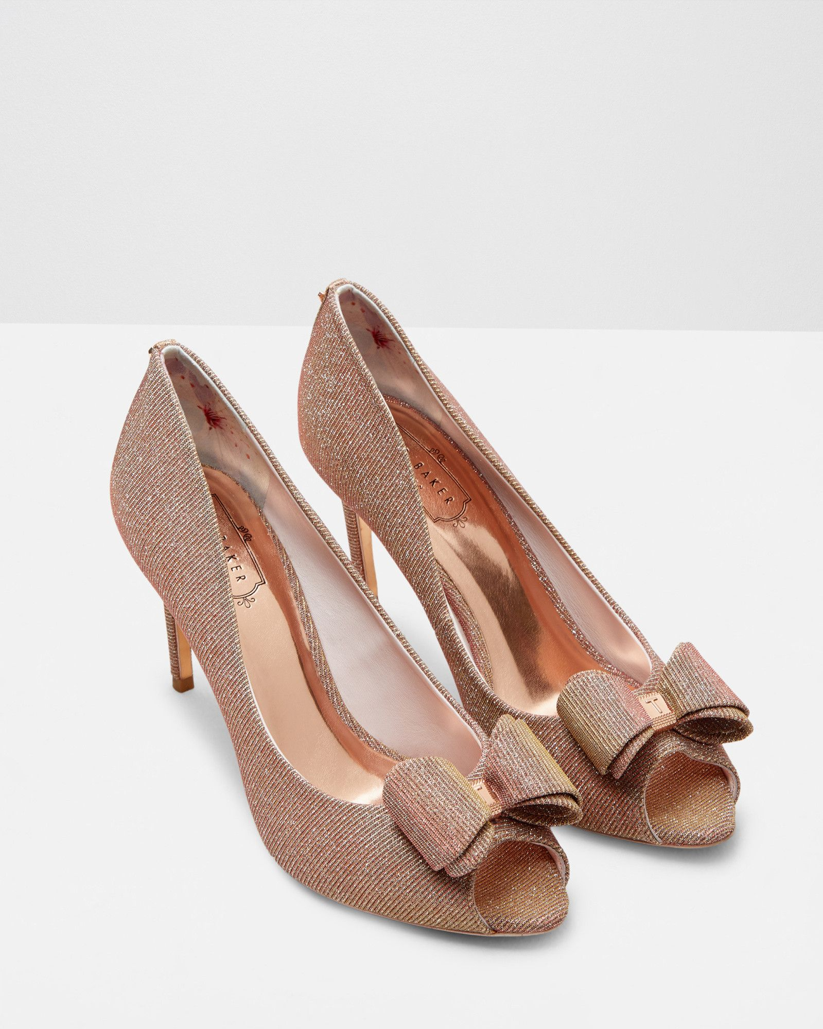 Bow Detail Peep Toe Courts Rose Gold Shoes Ted Baker Uk Womens Designer Accessories Rose Gold Shoes Bridal Shoes