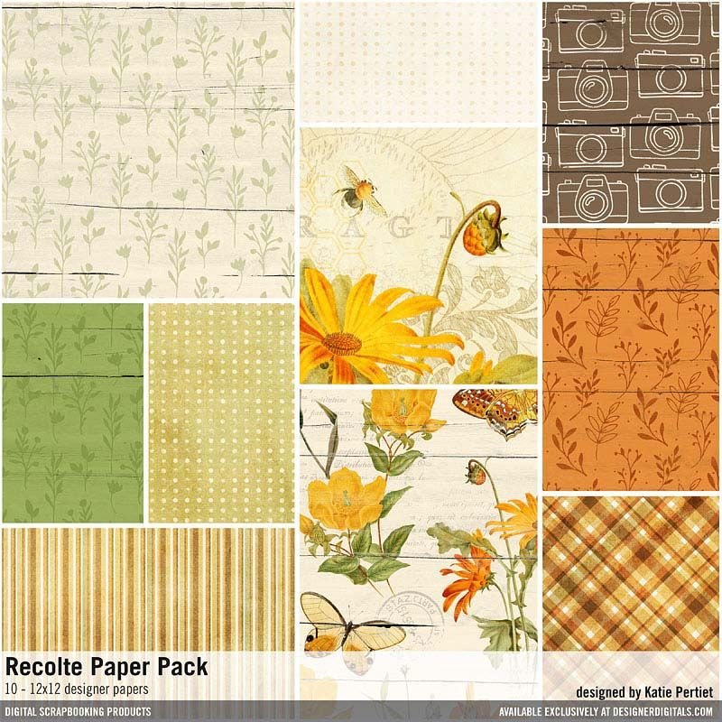 Recolte Paper Pack Vintage Botanical Patterned Papers In A Fall Harvest Theme Designerdigitals Paper Pack Patterned Paper Digital Scrapbooking