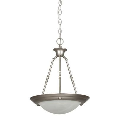Luminance 2 Light Satin Nickel Bowl Pendant Pendant Light