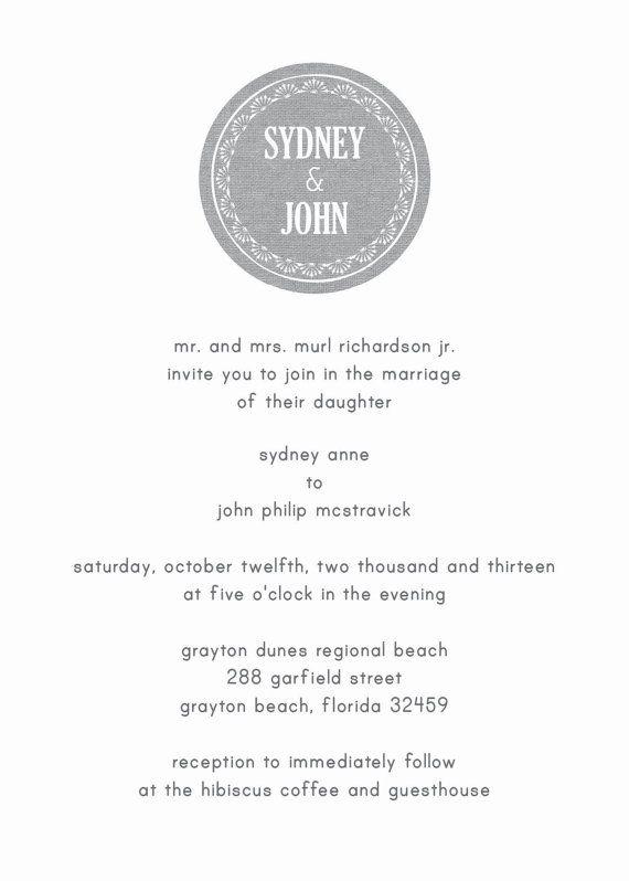 Grey Burlap Wedding Invitation / Wedding Printed Goods