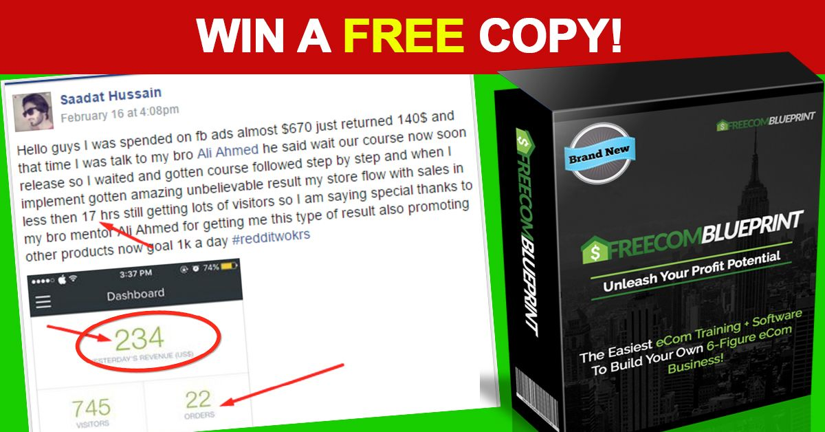 New free commerce blueprint makes a struggling newbie 234 in 17 want to win a free copy of freecom blueprint our secret software malvernweather Image collections