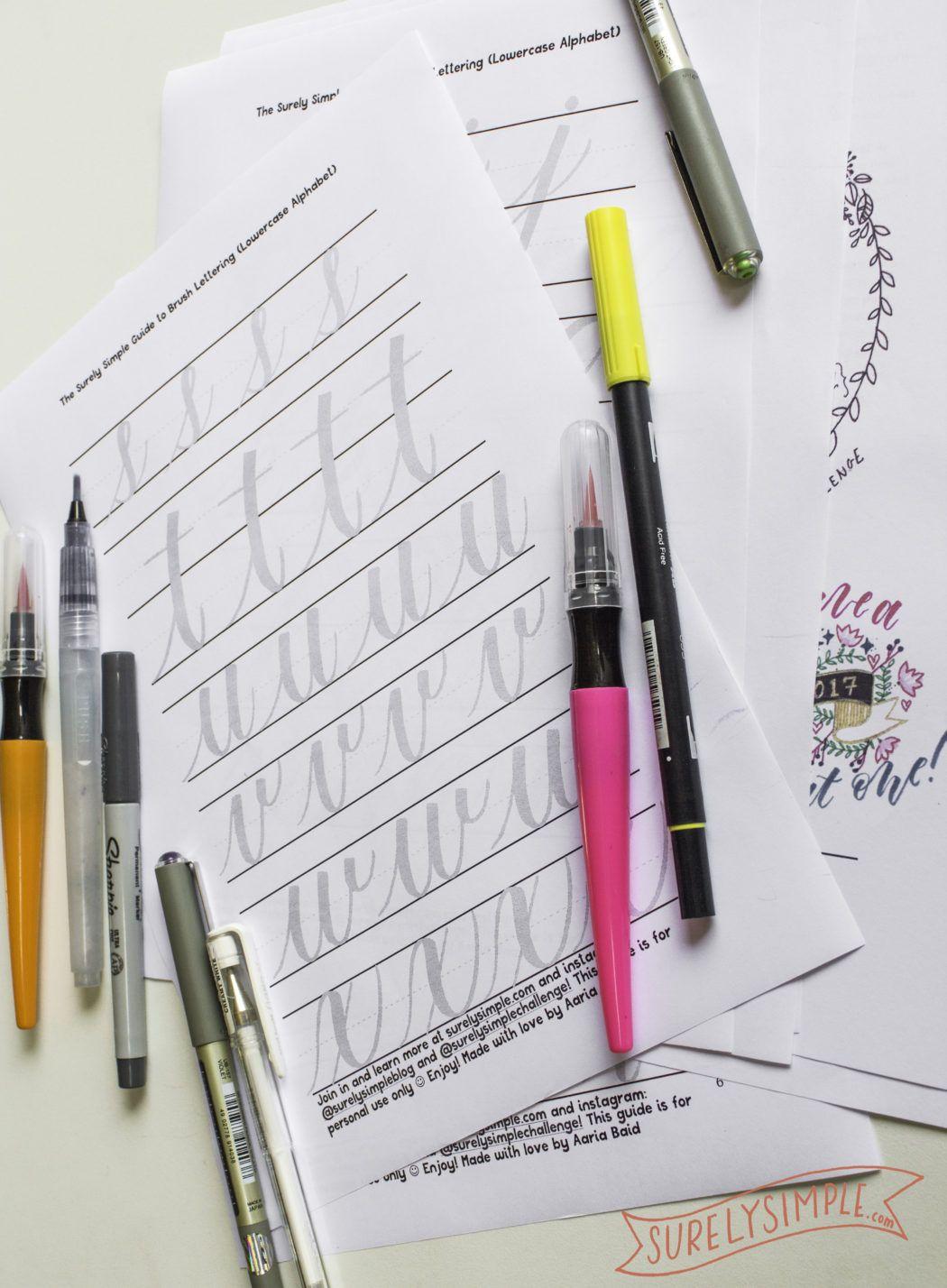 Free Brush Lettering Worksheet Download In Lowercase