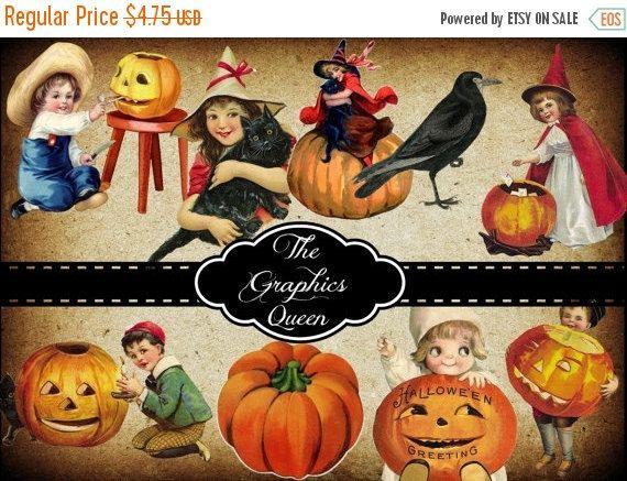 80 off sale vintage halloween decorations digital collage sheets vintage images for decoupage paper - Vintage Halloween Decorations For Sale