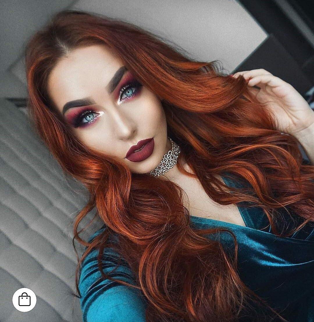 Love Red Hair And Green Velvet Beauty Redhead Makeup Hair Ginger Hair Hair Color Red Hair