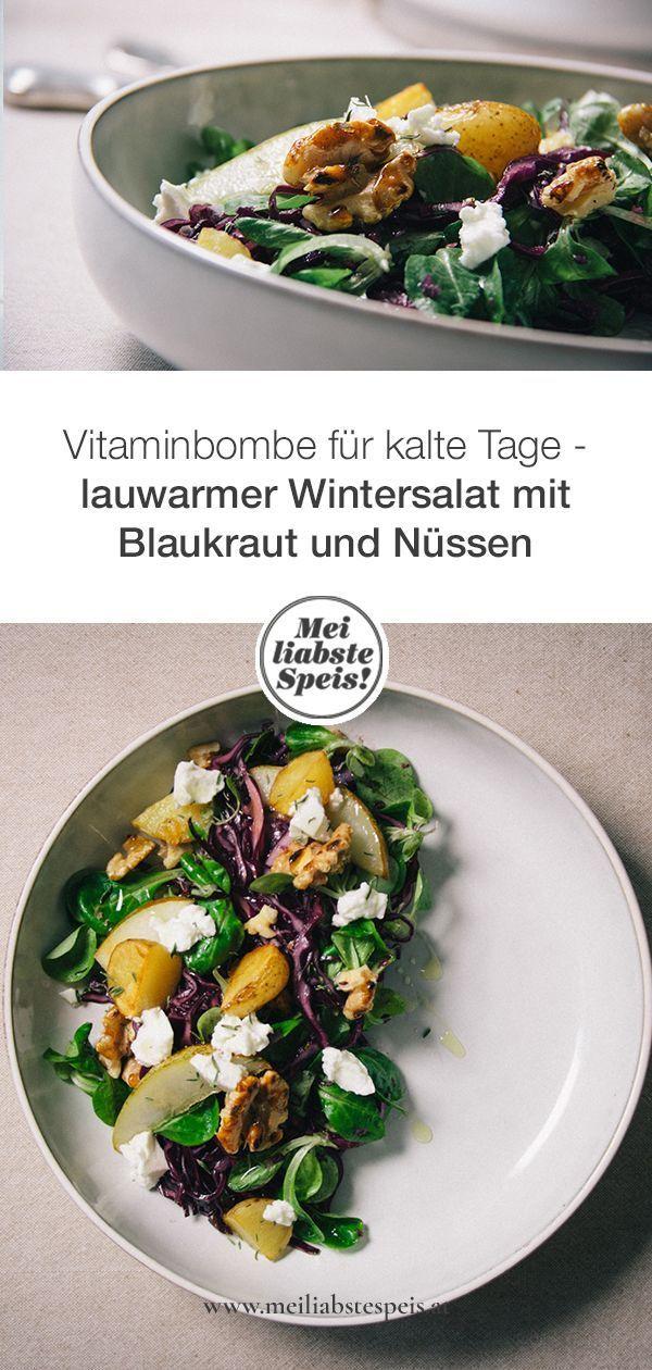 Lauwarmer Wintersalat mit Blaukraut und Nüssen