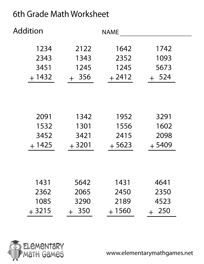 hight resolution of 6th Grade Math Addition Worksheets   Pre algebra worksheets