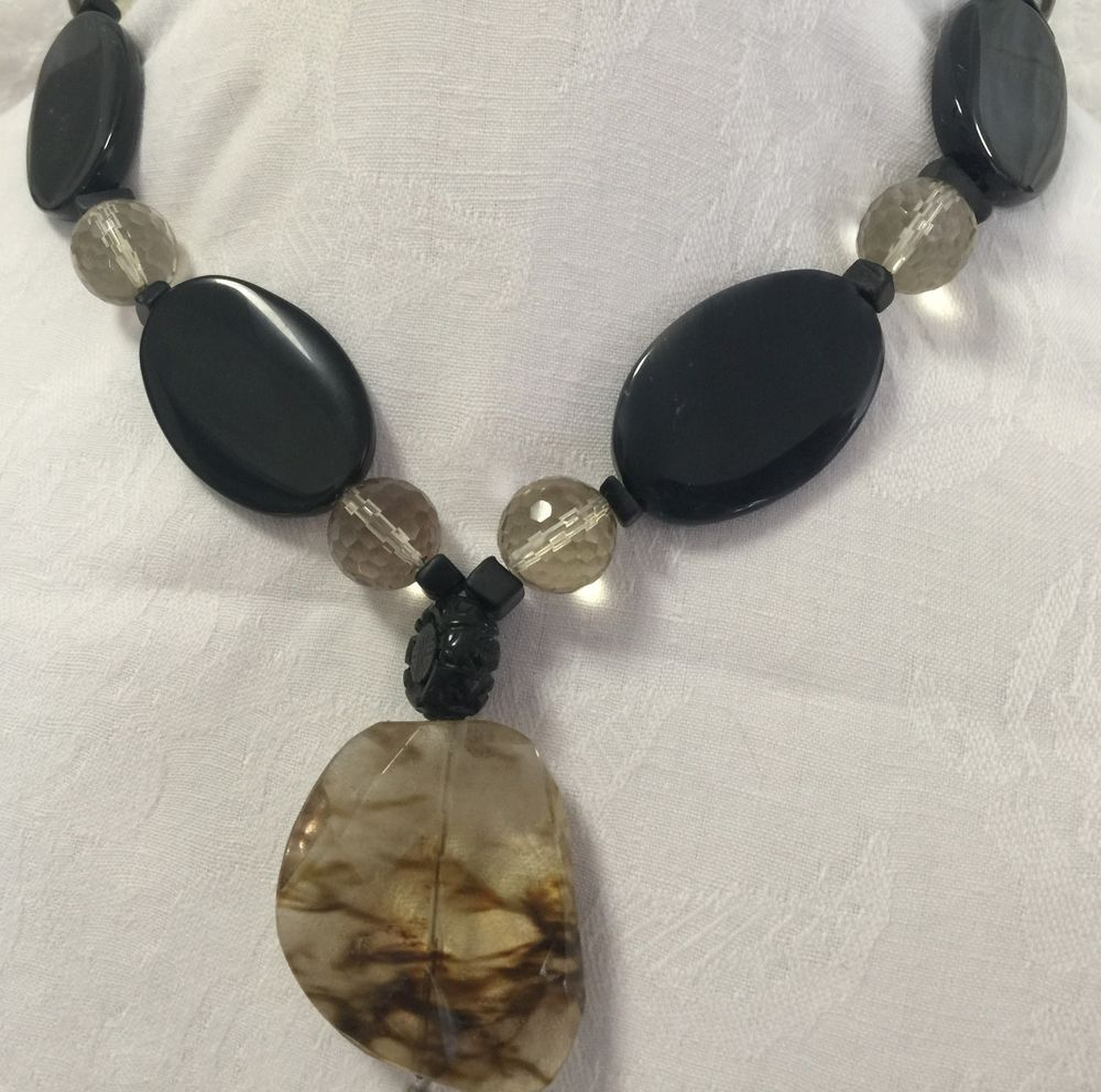Handmade Onix Necklace with Faceted Opal beads and Quarts Pendant #Handmade #necklace