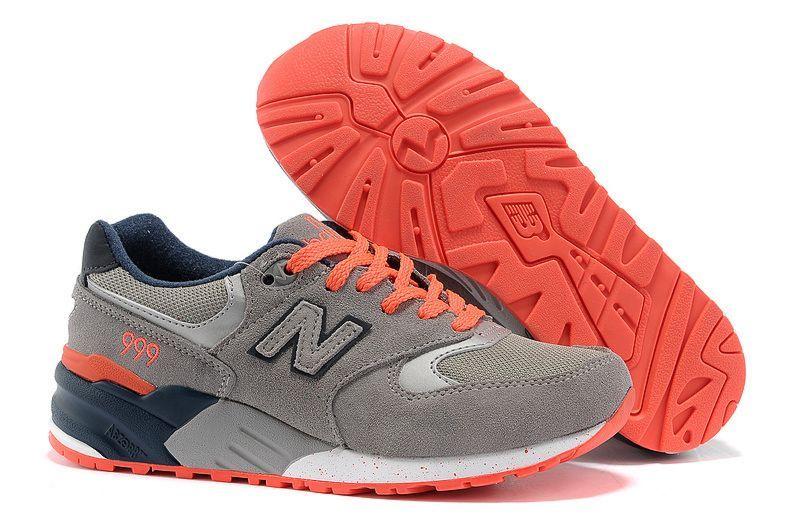 #912 New Balance 999 Womens Shoes Grey/Total Orange