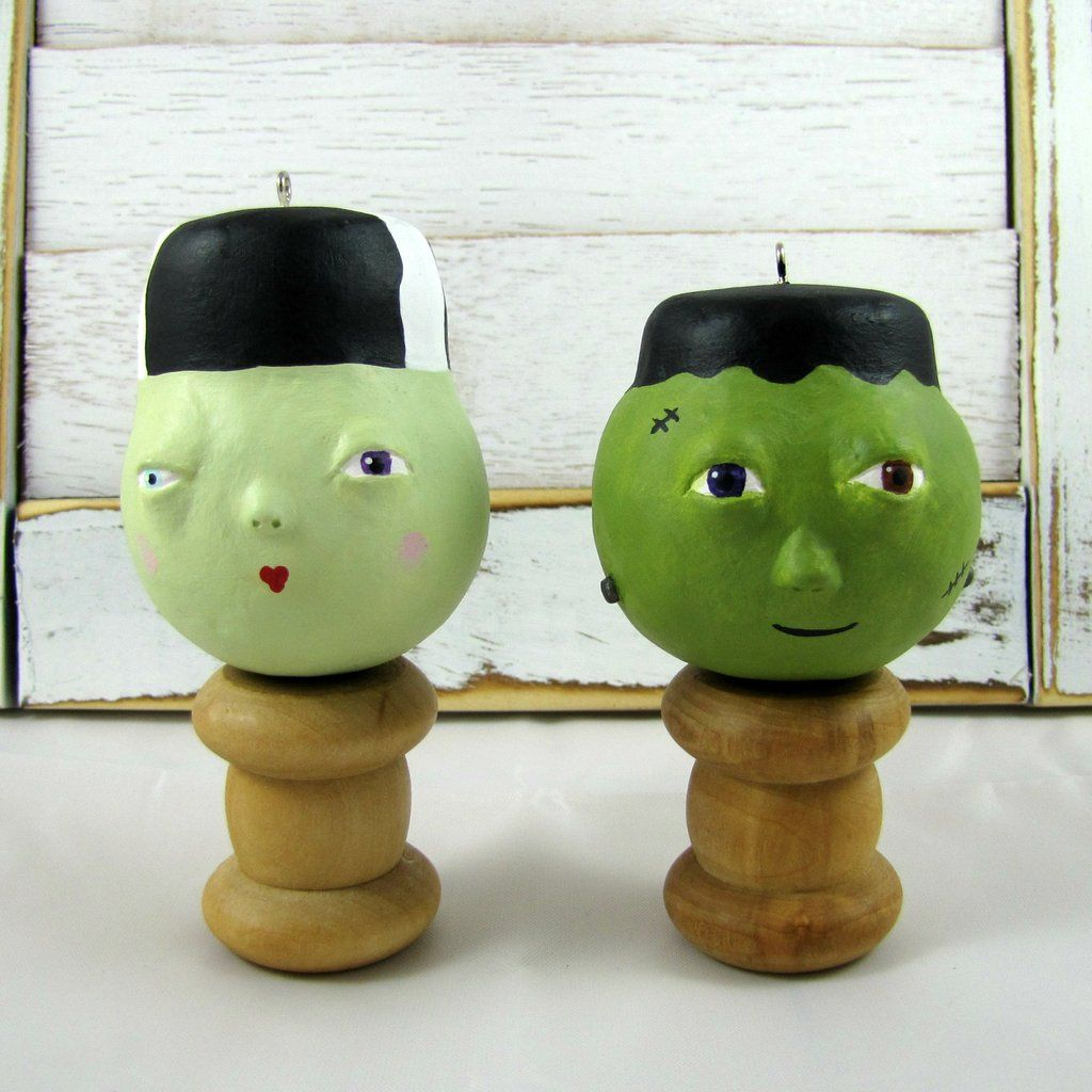 Mr and Mrs Frank E. Stein #Halloween Ornaments. Monster Decor.