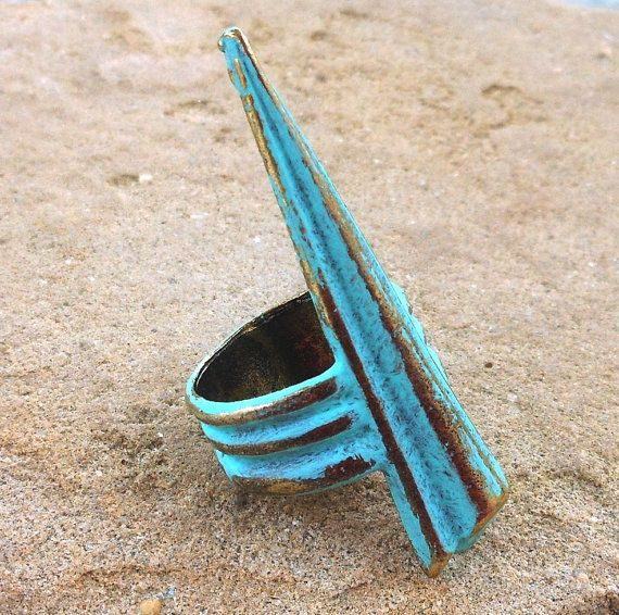 verdigris patina upcycled chunky urban spike ring by lluviadesigns, $14.00