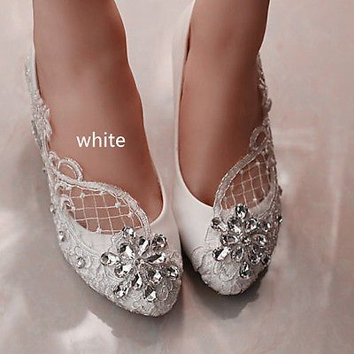 496dfa5f438375 Lace white ivory crystal Wedding shoes Bridal flats low high heel pump size  5-12