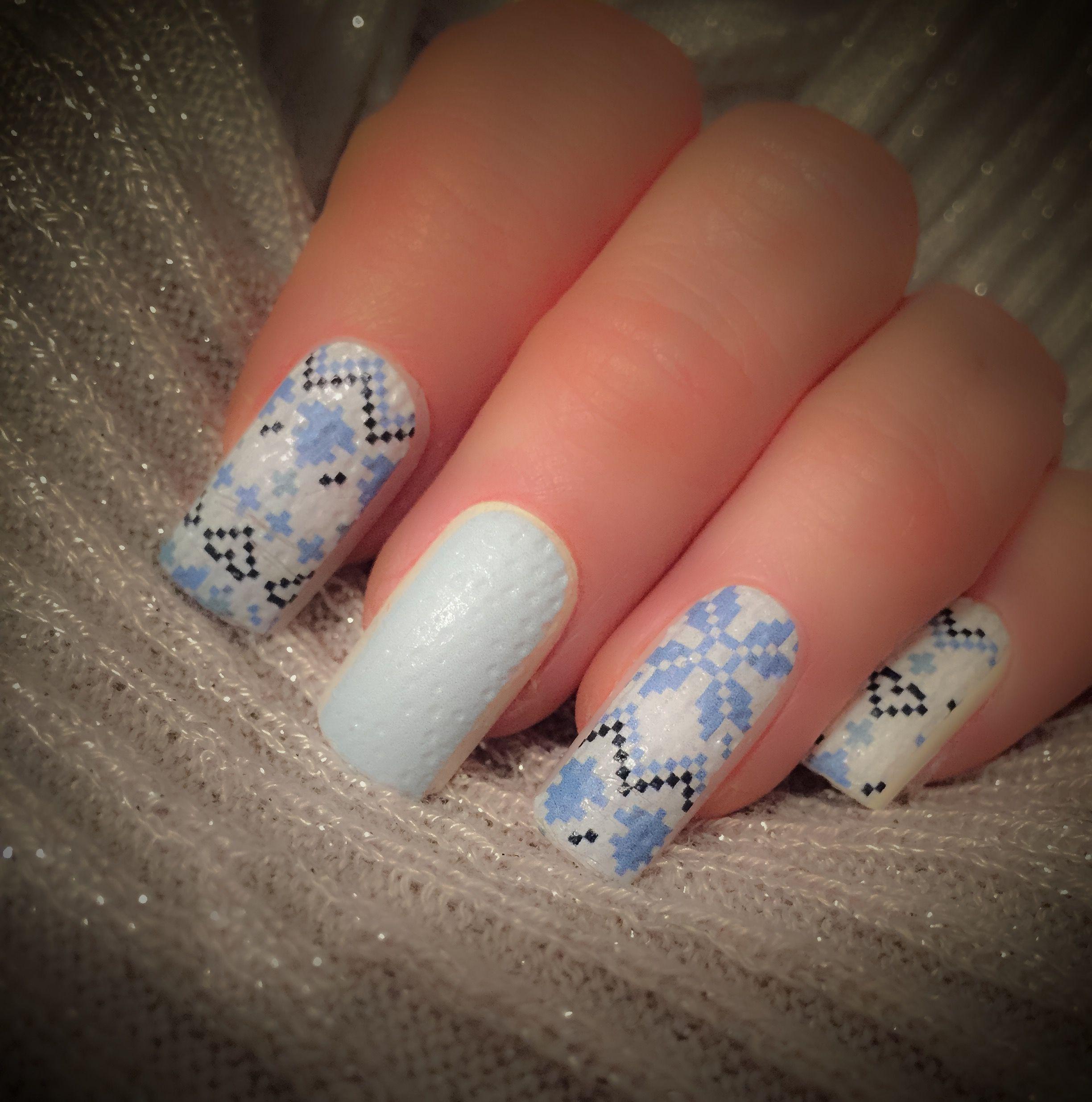 Knitted fairisle jumper long square false nails