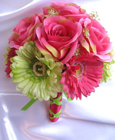 Wedding Bouquet Bridal Decoration Silk Flower Dark Pink Fuchsia