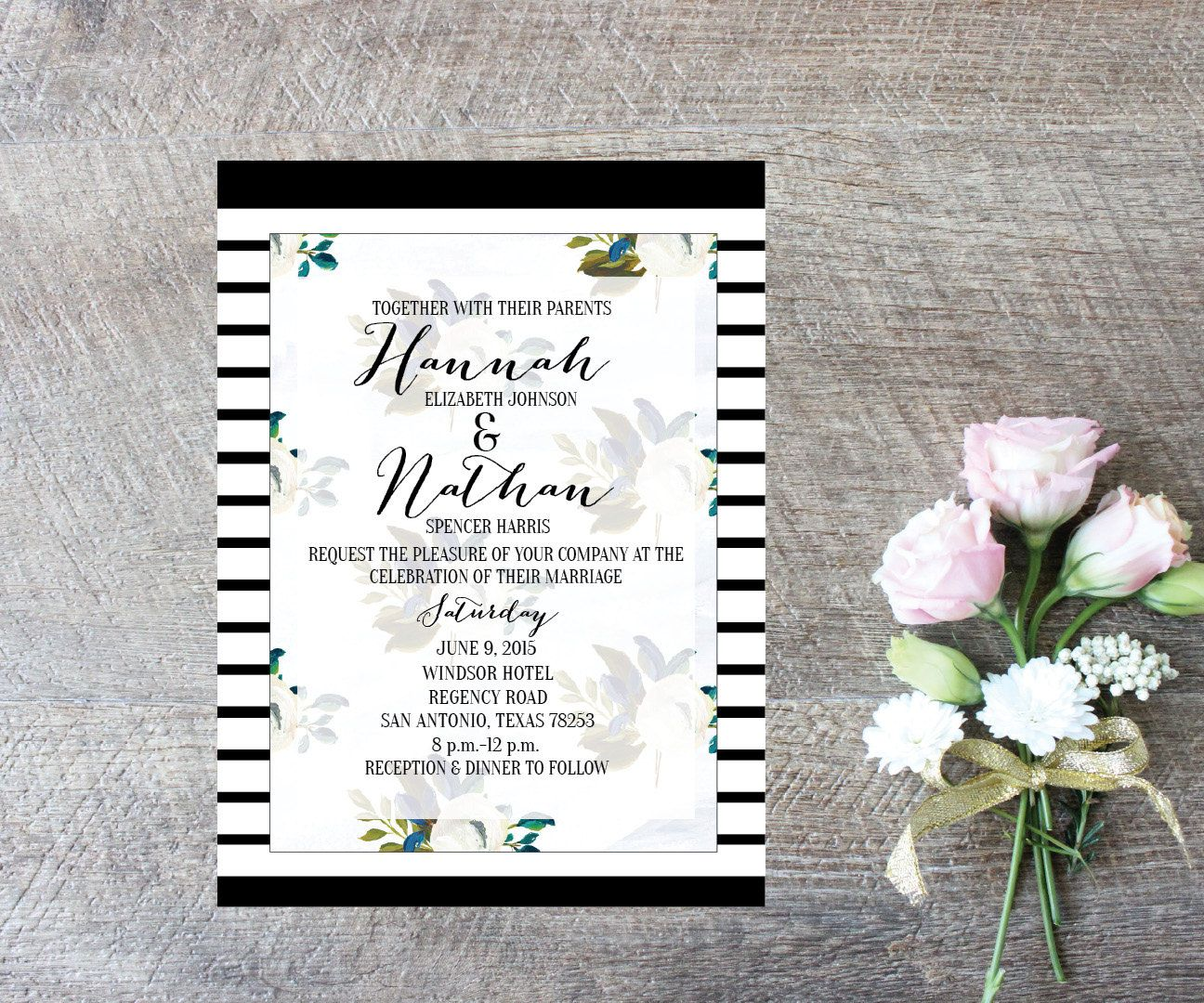 Wedding Invitation-Digital File-Photo Card-Digital invites-Watercolor Flowers-5x7-Wedding Card-Photo Card-Save the Date by MElizondoDesigns on Etsy
