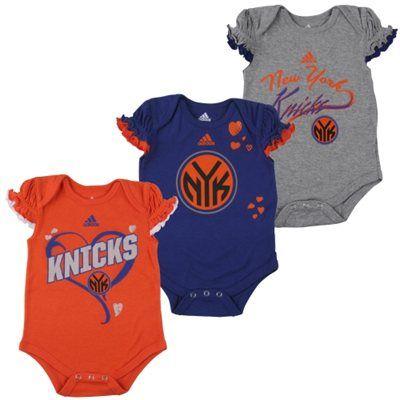 71f10190f58 adidas New York Knicks Newborn Girls Ruffle Heart 3-Pack Creeper Set -  Orange/Royal Blue/Ash