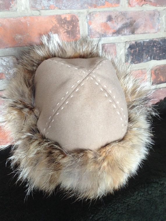 e655376b308 FurTrimmed Viking Hat with Grey Top and Winter Silver Fox Fur Norse ...