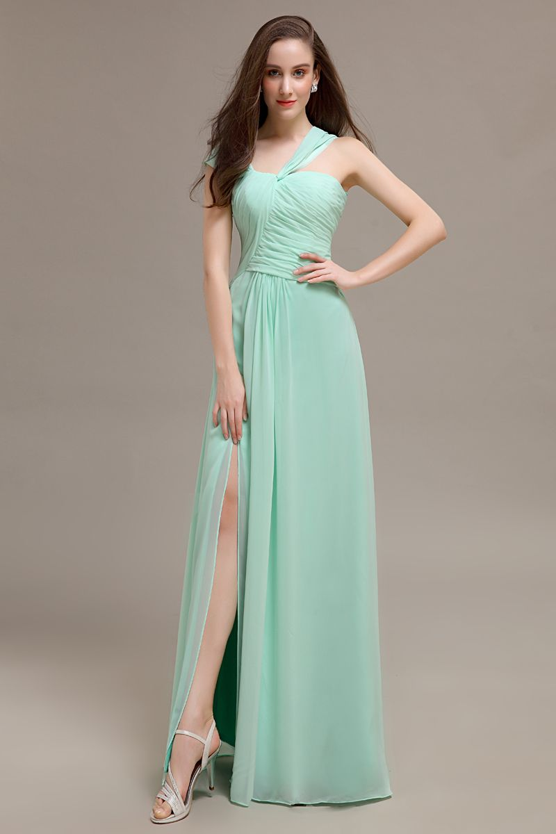 Click to buy long one shoulder simple designed cheap floor cheap bridesmaid dresses buy quality mint bridesmaid dresses directly from china bridesmaid dresses suppliers long one shoulder simple designed cheap ombrellifo Images