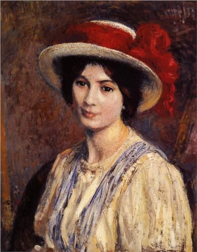 Georges Lemmen (Belgian, 1865 - 1916) - Hat with a Red Ribbon