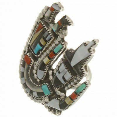 Inlaid Zuni Rainbow Man Kachina Ring  26523  | Alltribes