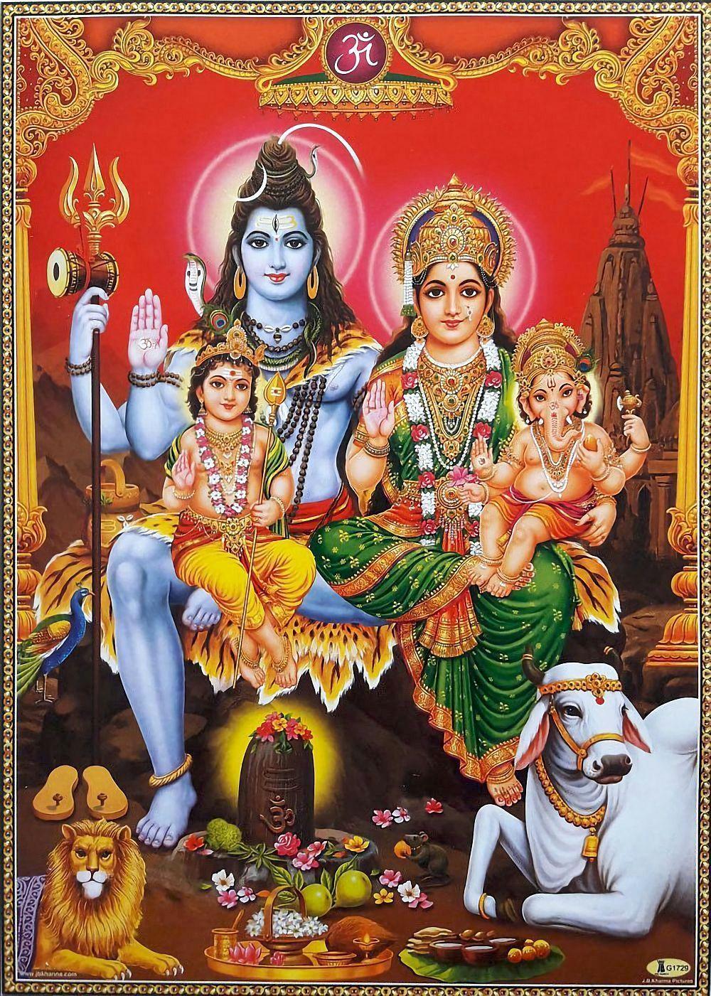 Shiva With His Family Parvati Ganesha Murugan Via Ebay Indian Ash Lord Shiva Family Lord Shiva Hd Images Lord Shiva