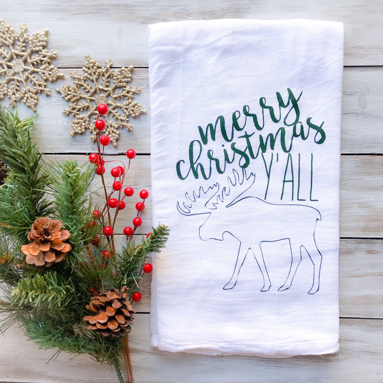 Tea Towel Merry Christmas Y All Moose Tea Towel Flour Sack Kitchen Dining Bath Decor Holiday Baking Winter
