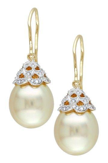 Orecchini in oro giallo 14K perle e diamanti