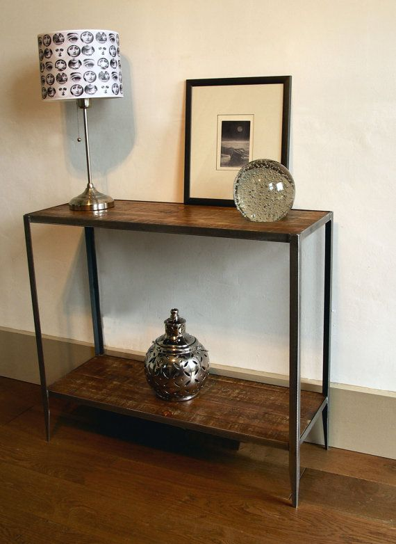 A stunning industrial style console table made from steel and ...