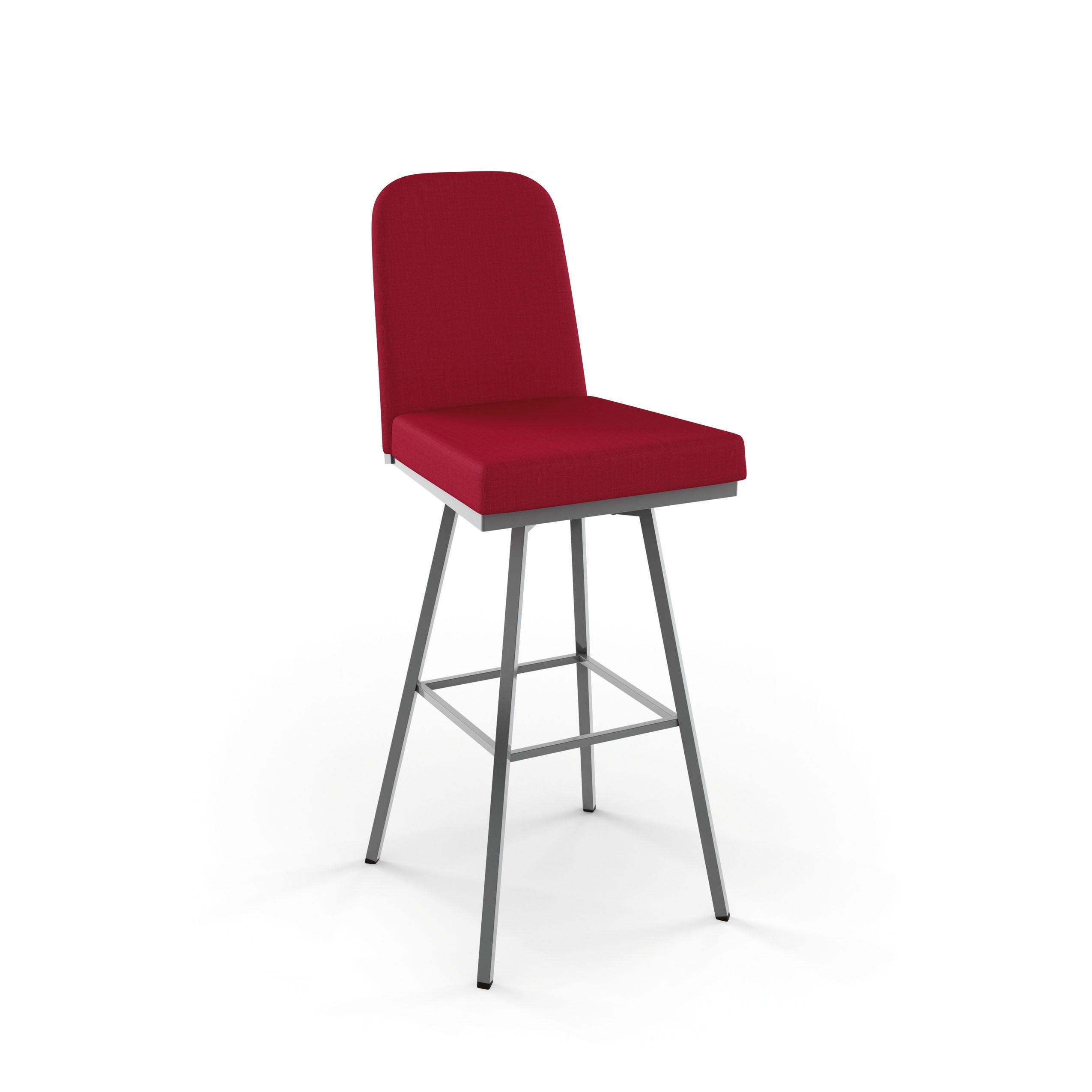 Amisco Spoon Swivel Metal Counter Stool ((2)Grey Metalred Polyester)