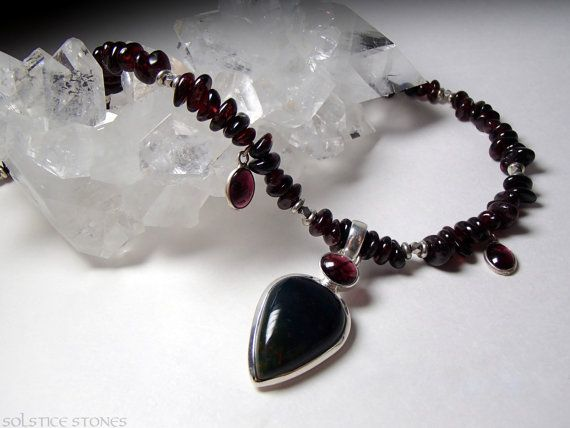 Garnet Drop Necklace with Sterling Silver Set Bloodstone Pendant
