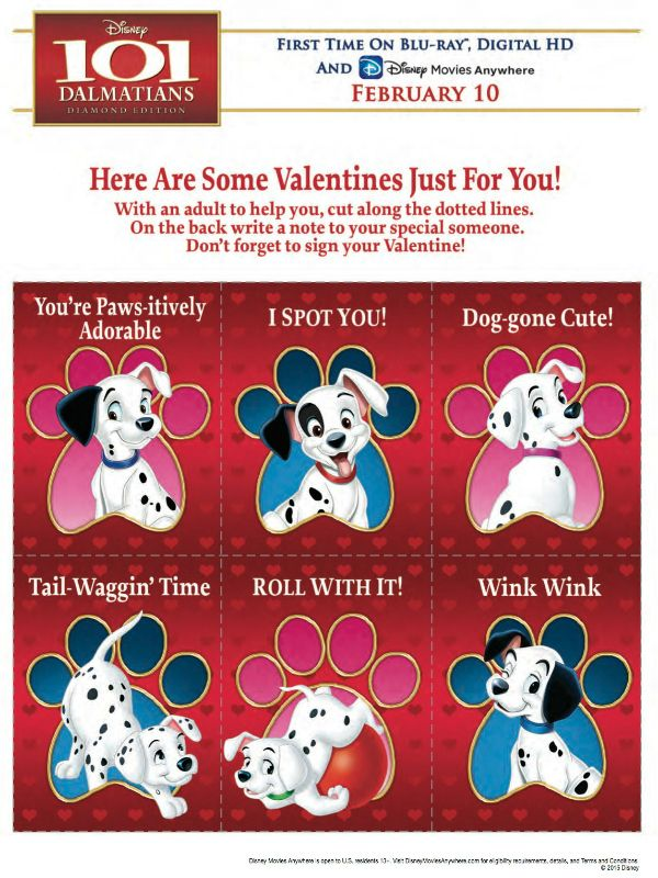 Free Disney 101 Dalmatians Printable Valentines With Images