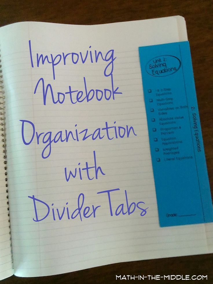 Organizing Student Notebooks with Dividers Classroom Ideas
