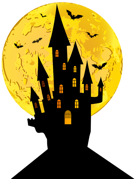Halloween Castle And Moon Png Clip Art Image Fall Halloween Crafts Vintage Halloween Cards Halloween Drawings