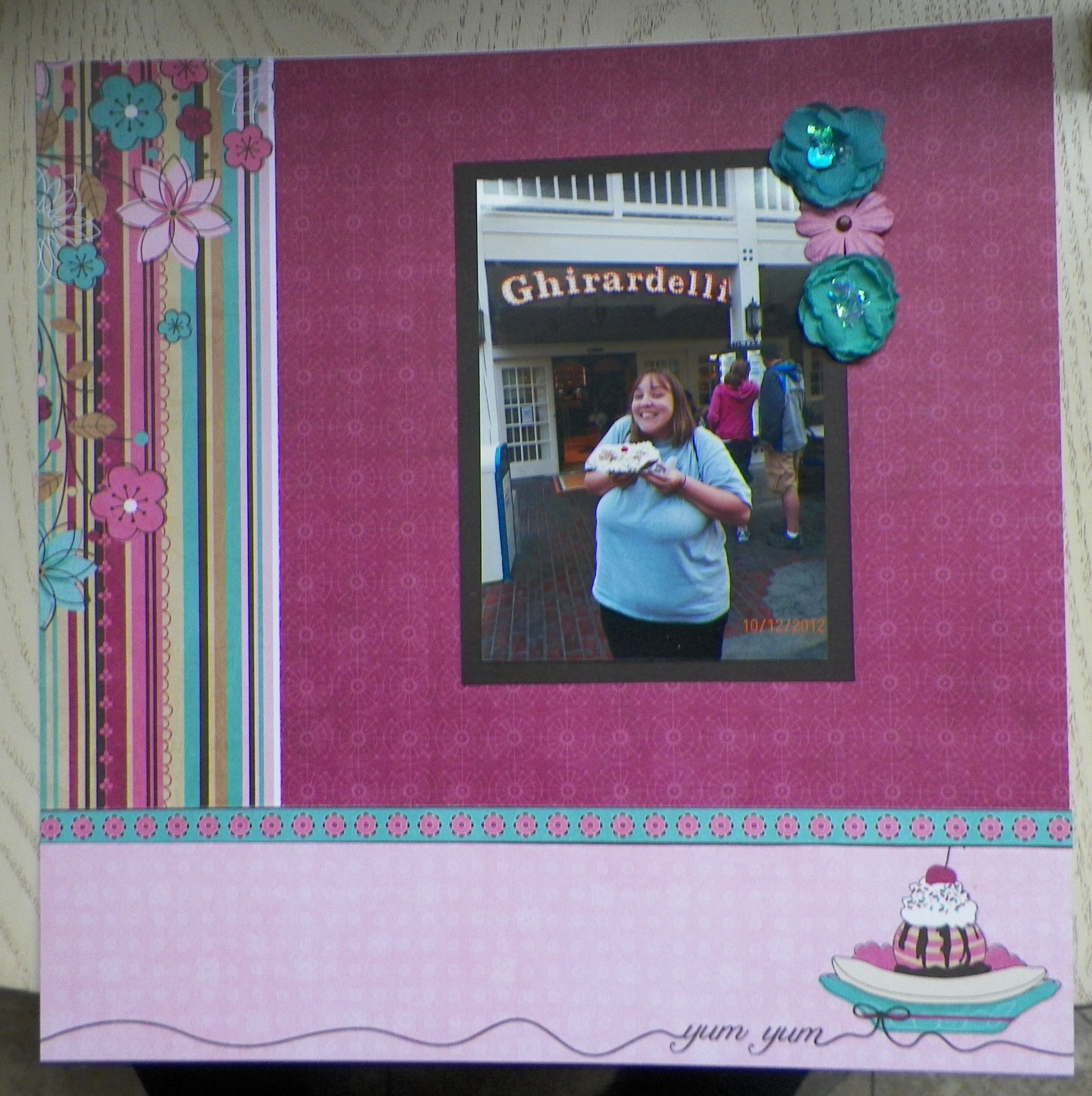Scrapbook ideas adventure - Handmade Scrapbook Layout Bo Bunny Sweet Tooth California Adventure Ghirardelli Ice