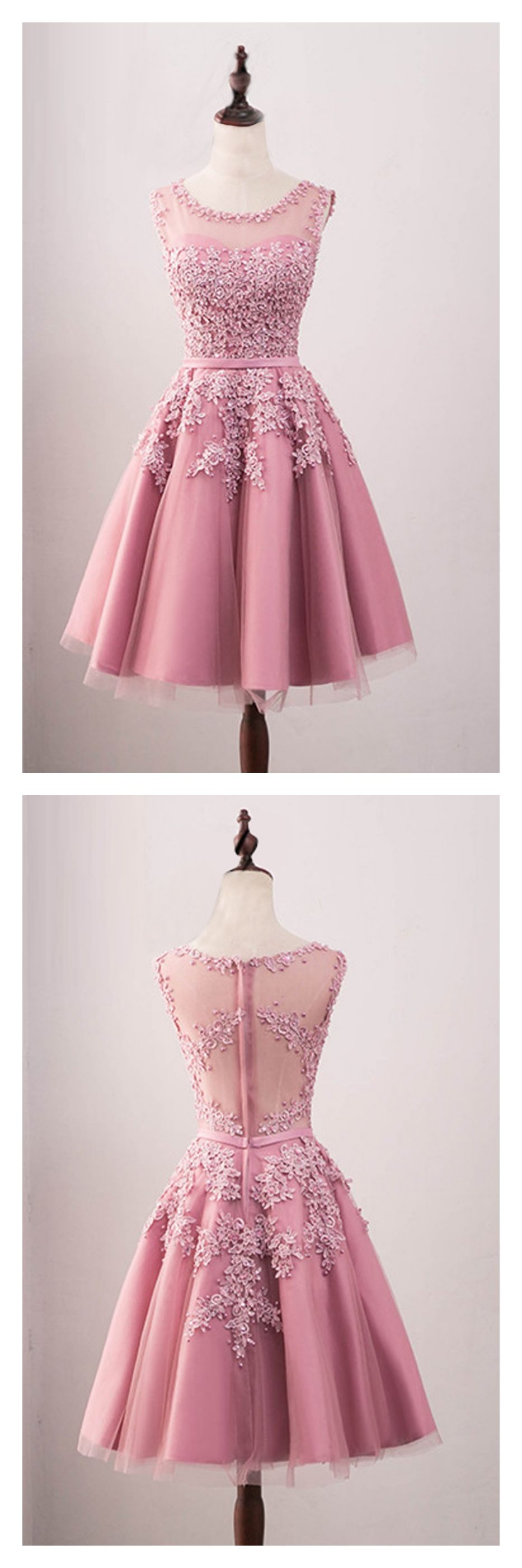 A line tulle knee length homecoming dress with applique ed