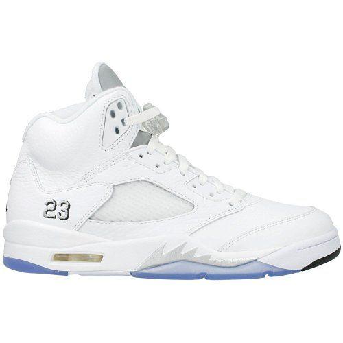premium selection 0f42a bcdb4 Amazon.com  Nike Air Jordan 5 V Retro White Black Metallic Silver Size 12.5  136027-130  Shoes