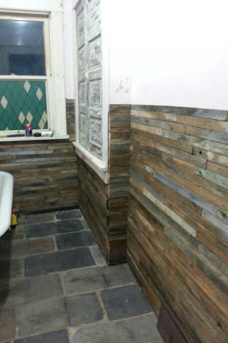 Reclaimed Wood Lath Walls And Slate Roof Flooring In The Bathroom Almost Finished Flooring Rustic Counter Diy Countertops