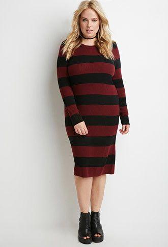 95331142fd4 Plus Size Striped Rib Sweater Dress