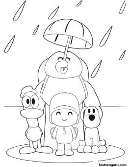 Coloring pages printabel Pocoyo Loula and Pato are enjoying the rain ...