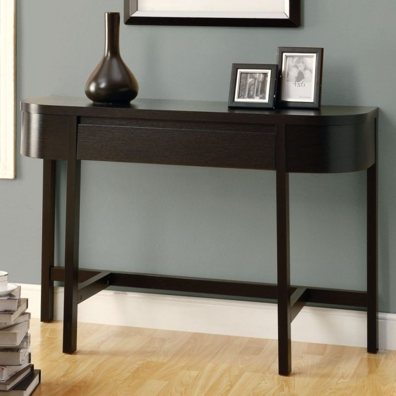 Cappuccino Finish Console Table Rounded Edges With Straight Lines