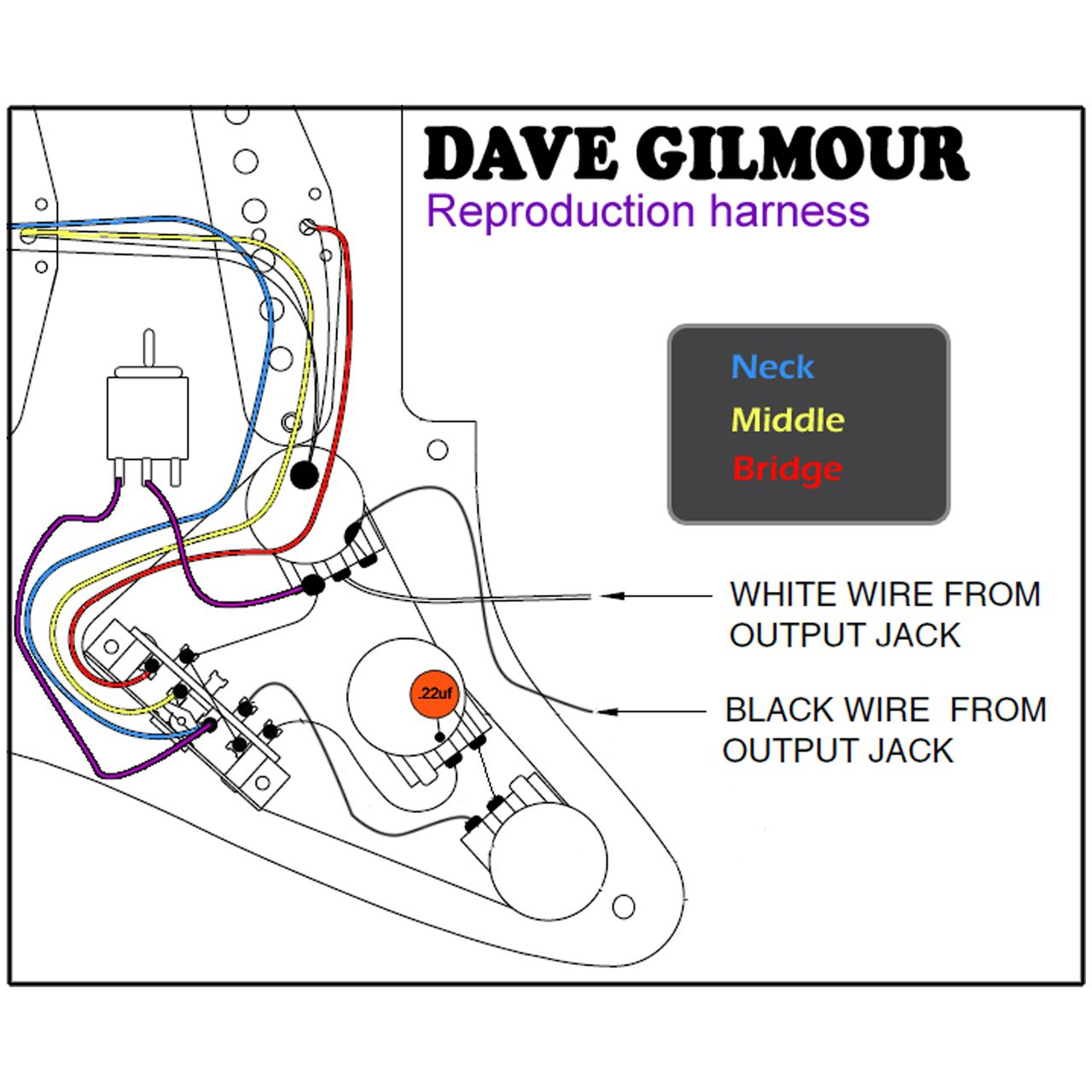 dave gilmour deluxe pre wired stratocaster wiring kit with recessed rh pinterest com Fat Strat Wiring Diagram 3-Way Switch Wiring Diagram