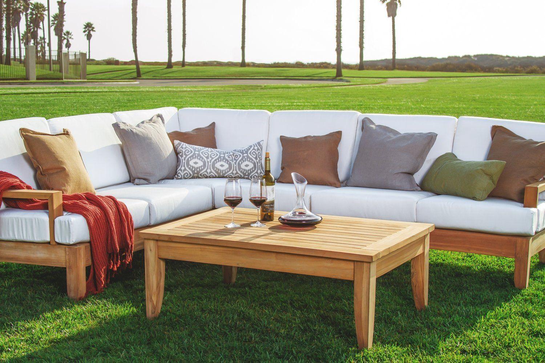 Amazon Com Atnas Grade A Teak Wood Luxurious 5pc Sectional Sofa
