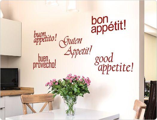 Guten Appetit! in 5 Sprachen - Wandtattoo Wandaufkleber virtuve - wandtattoo küche guten appetit