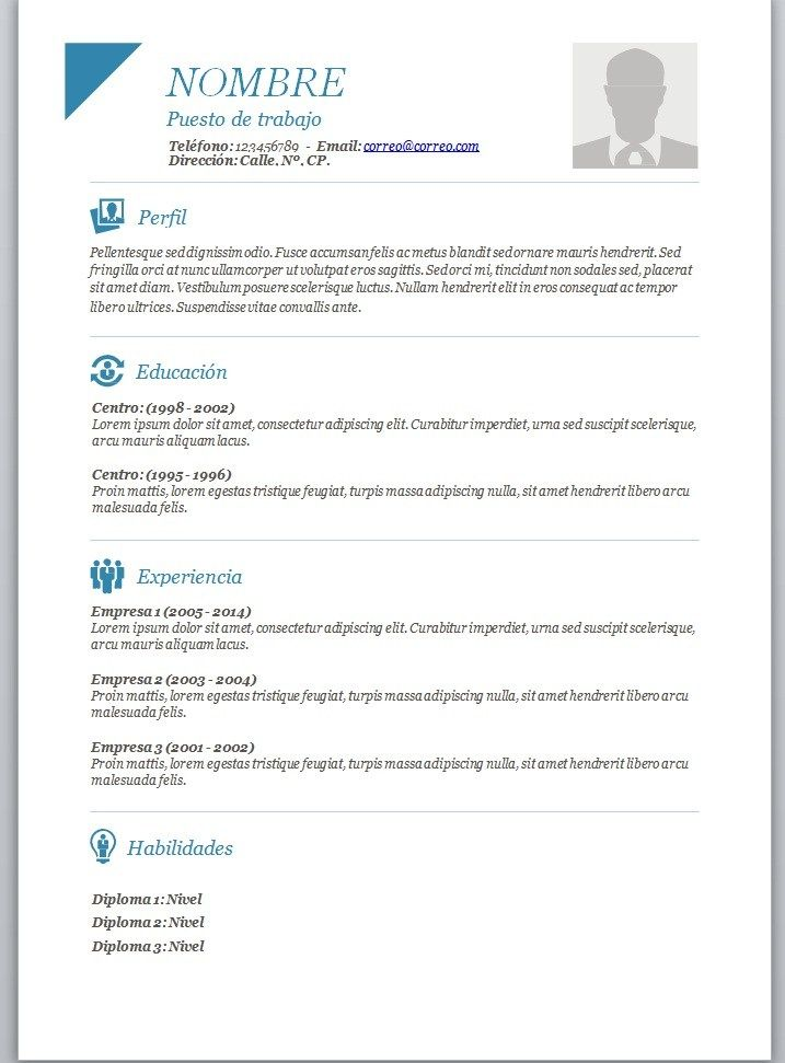 Modelos de curriculum vitae en word para completar cv Pinterest