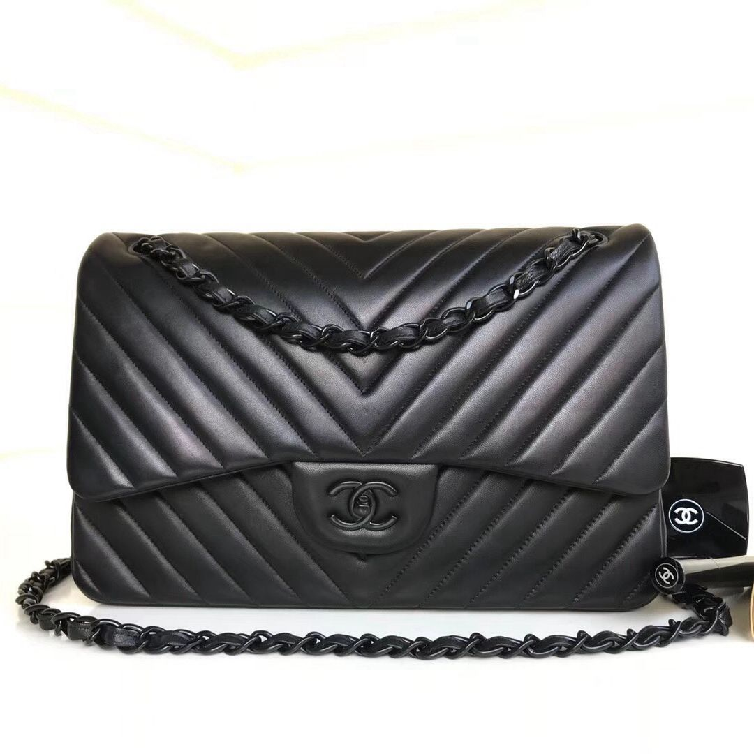 b0002badbd30 Chanel So Black Chevron Lambskin Jumbo Classic Flap Bag | Chanel ...